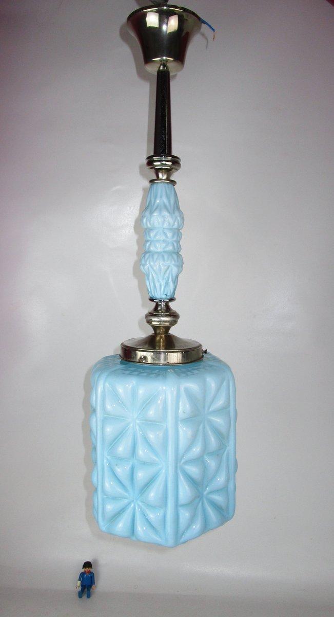 Deckenlampe aus blauem Kristallglas, 1920er