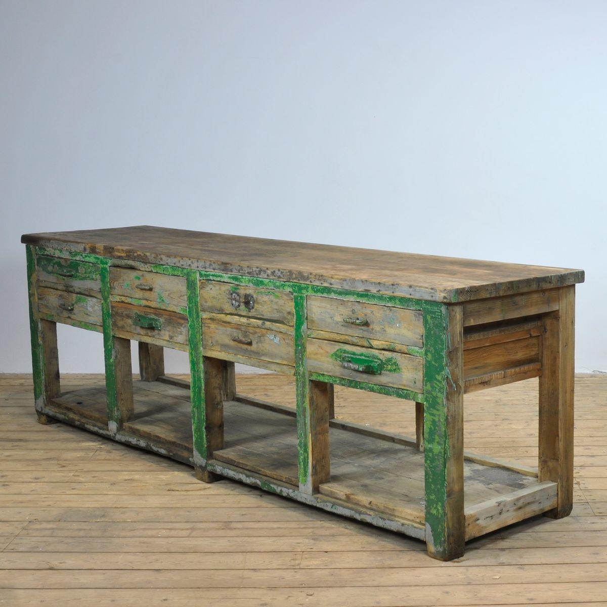table de travail industrielle en bois 1940s en vente sur. Black Bedroom Furniture Sets. Home Design Ideas