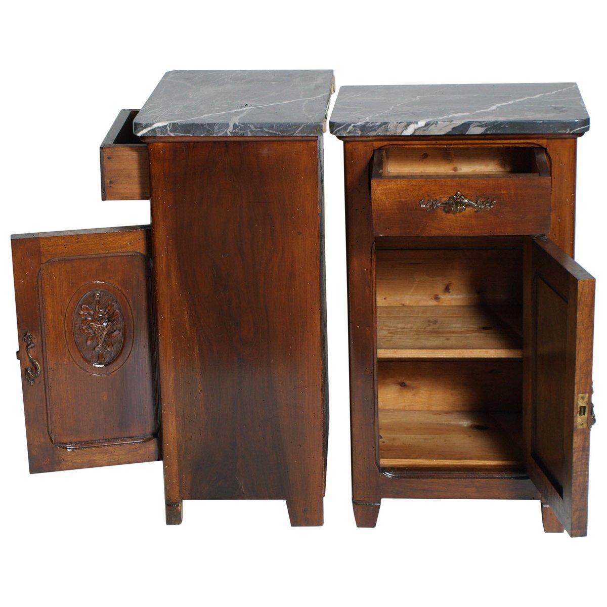 Tables de chevet art nouveau antiques en noyer et marbre - Table de chevet marbre ...