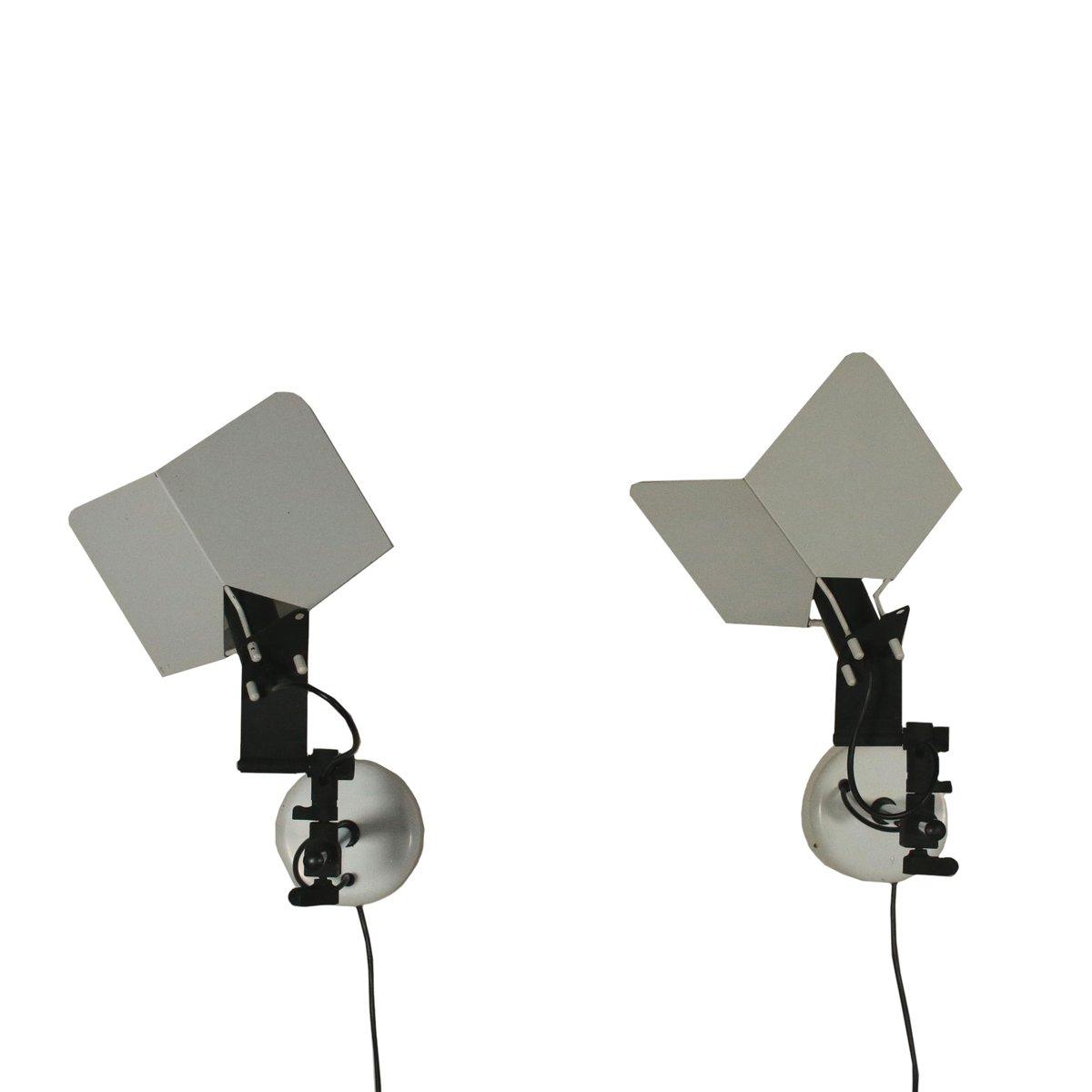 Wandlampen aus Metall von Joe Colombo für Stilnovo, 1980er, 2er Set