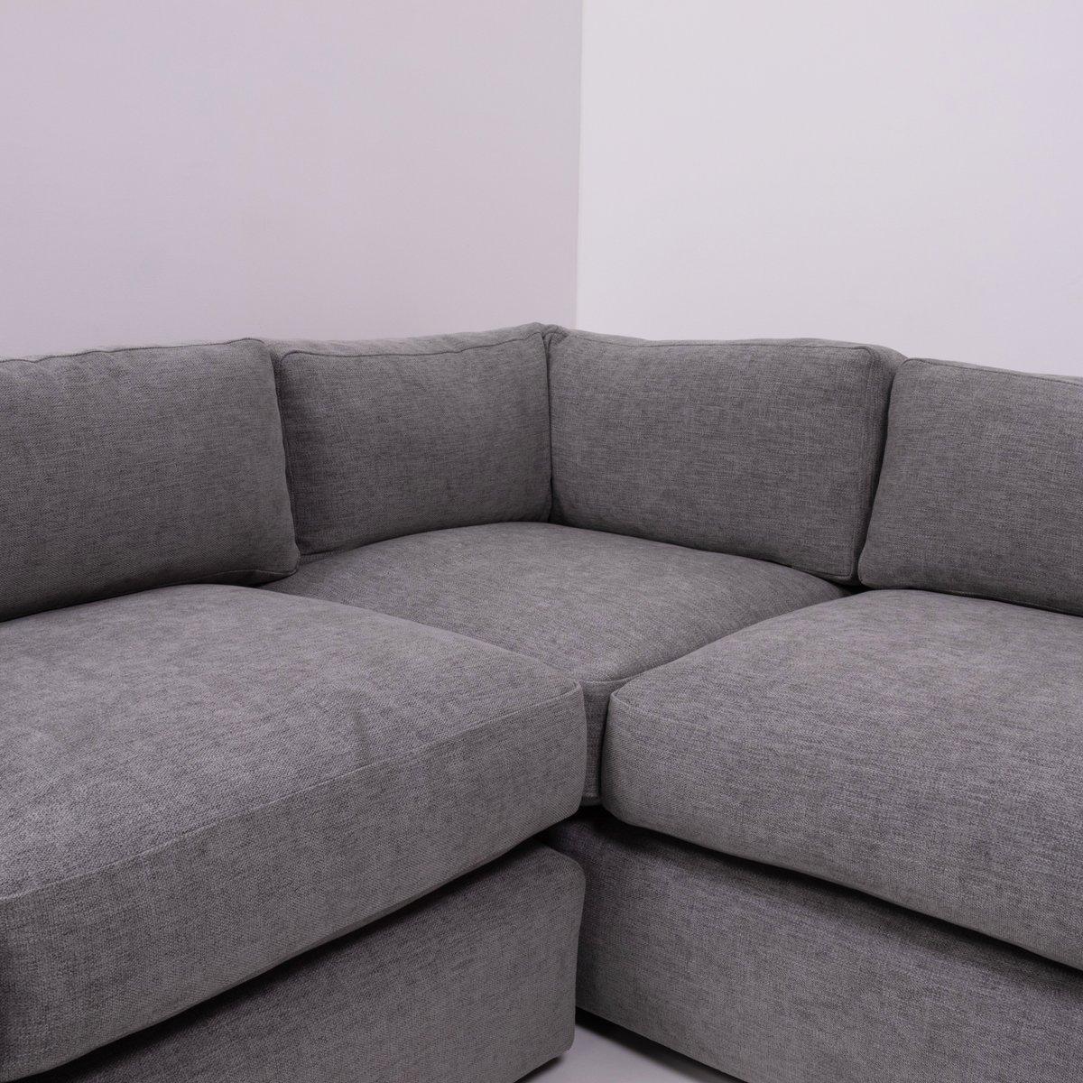 Mid Century Grey Sectional Corner Sofa By Milo Baughman