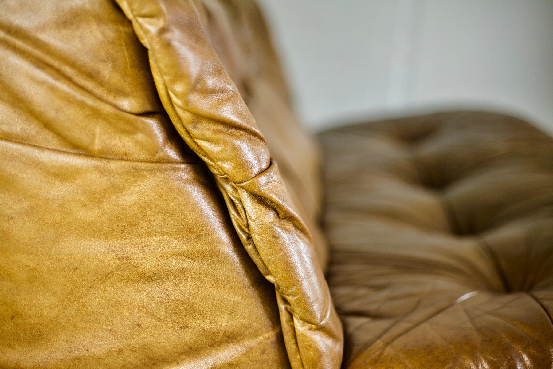 cognacfarbenes ledersofa von rolf benz 1970er bei pamono. Black Bedroom Furniture Sets. Home Design Ideas