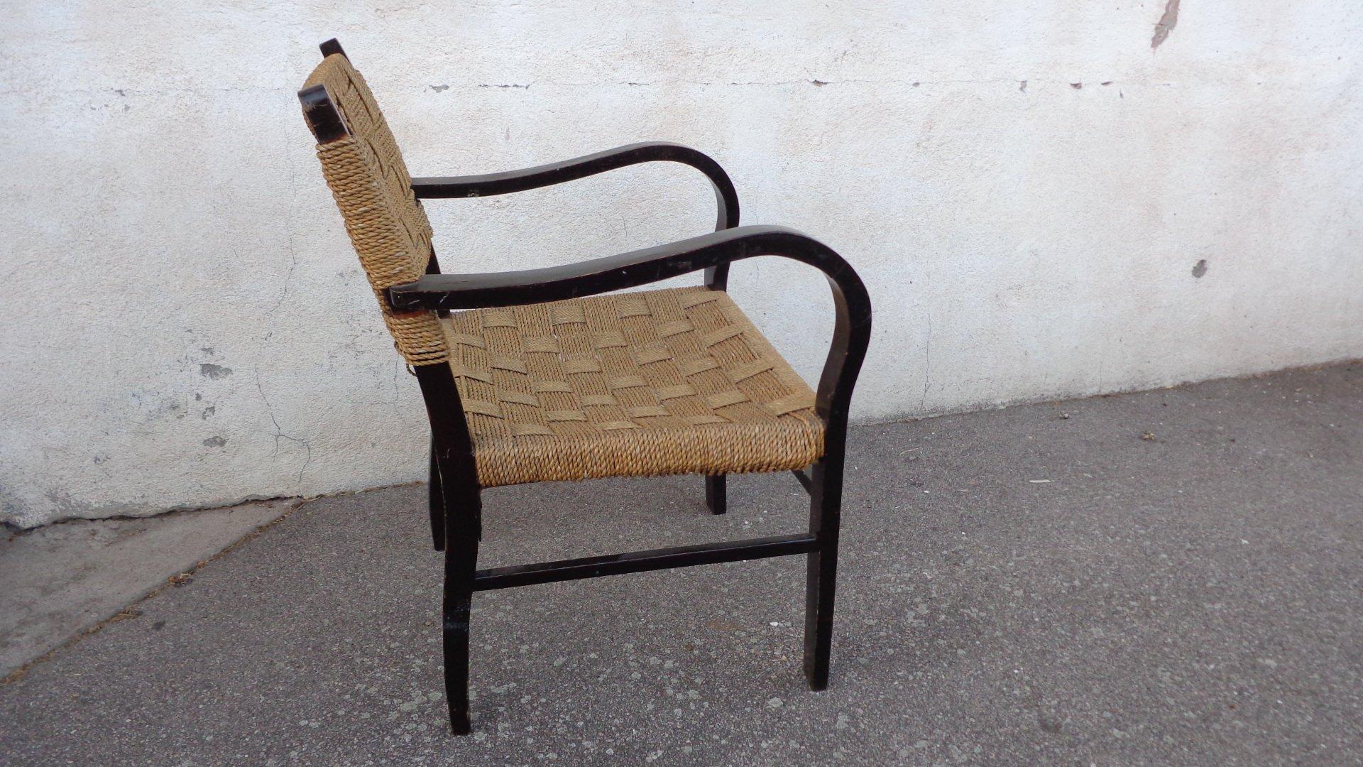 vintage stuhl mit seilsitz und lehne bei pamono kaufen. Black Bedroom Furniture Sets. Home Design Ideas