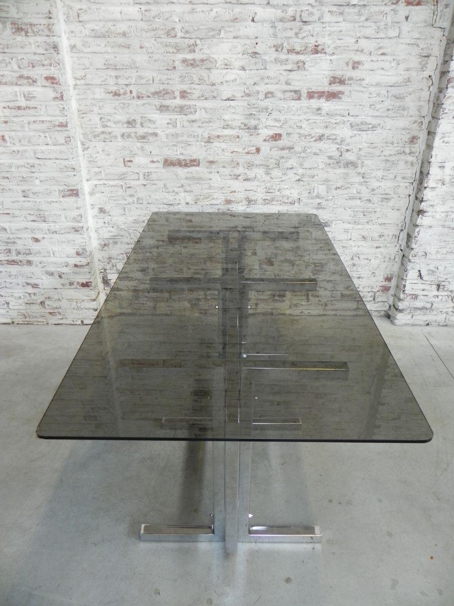 Table de salle manger vintage en chrome et verre 1970s en vente sur pamono for Table de salle a manger en verre