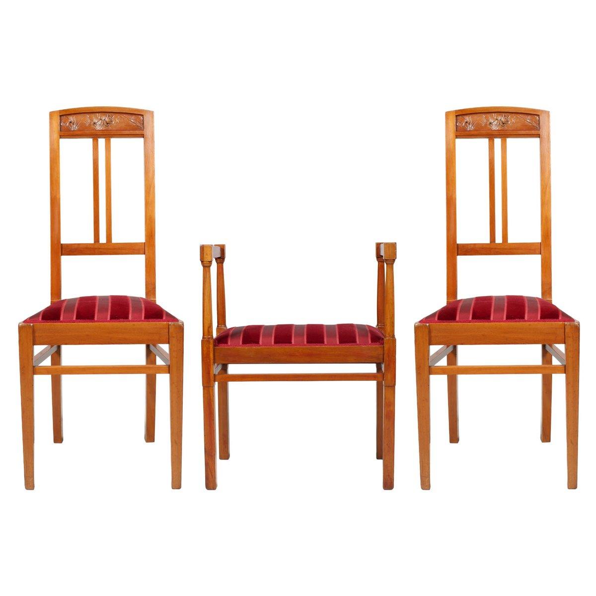 chaise d 39 appoint avec tabouret antiques art nouveau italie en vente sur pamono. Black Bedroom Furniture Sets. Home Design Ideas