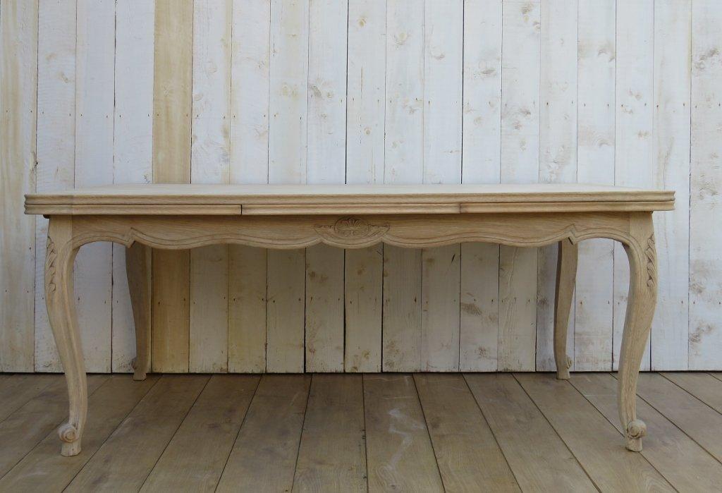longue table de salle manger extensible en ch ne blanchi 1950s en vente sur pamono. Black Bedroom Furniture Sets. Home Design Ideas