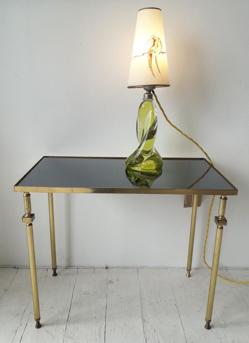 table d 39 appoint vintage en laiton en verre miroit france 1950s en vente sur pamono. Black Bedroom Furniture Sets. Home Design Ideas