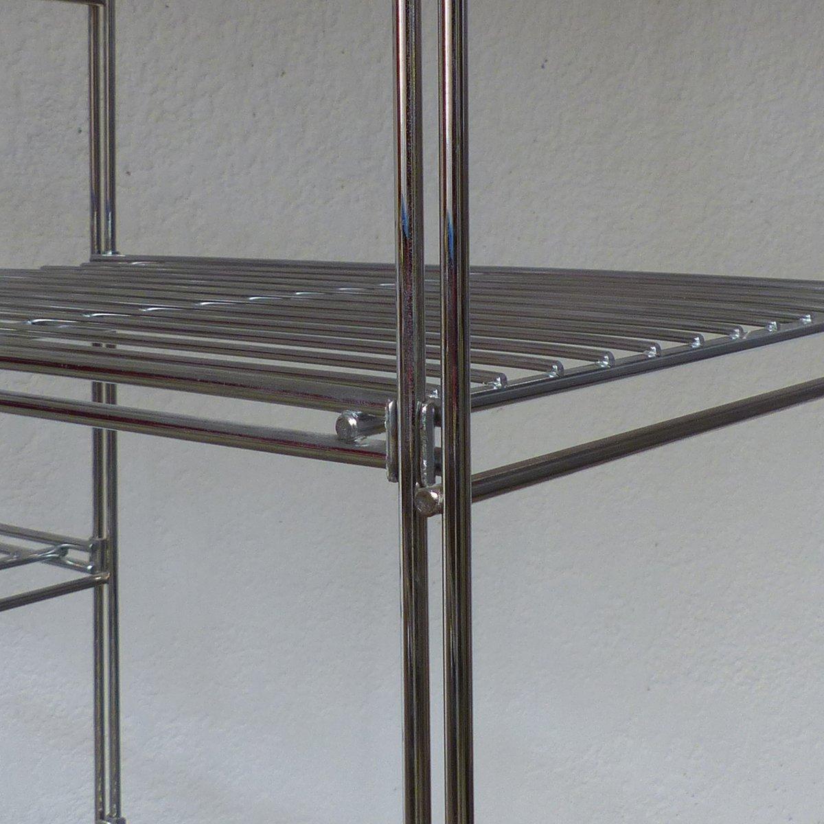 verchromtes modulares regal aus metall 1970er bei pamono. Black Bedroom Furniture Sets. Home Design Ideas