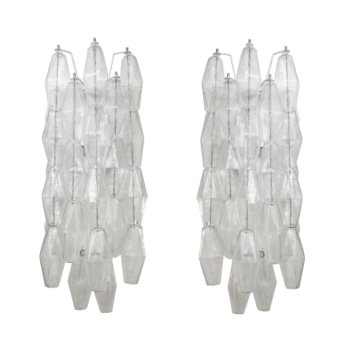 Vintage Poliedri Wall Sconces by Carlo Scarpa for Venini, Set of 2