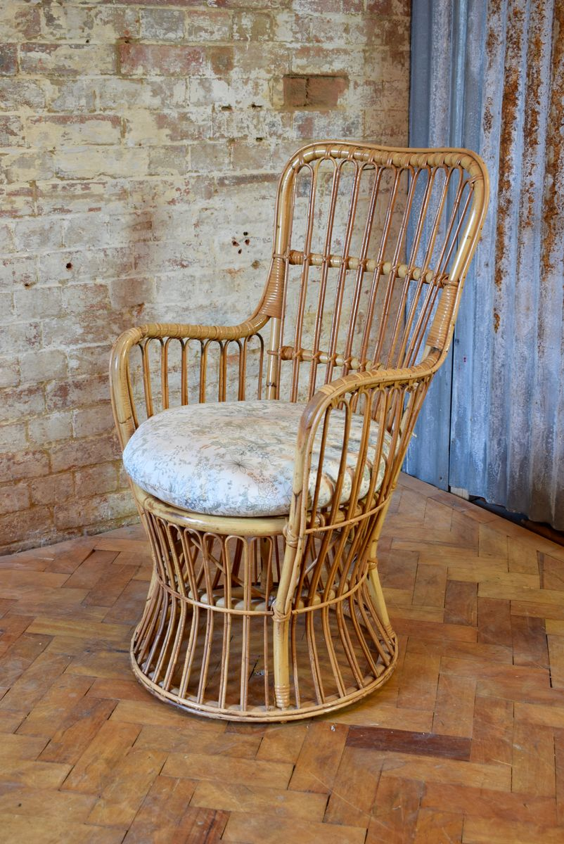 Vintage Tub Chair aus Schilfrohr, Korbgeflecht & Rattan mit Kissen