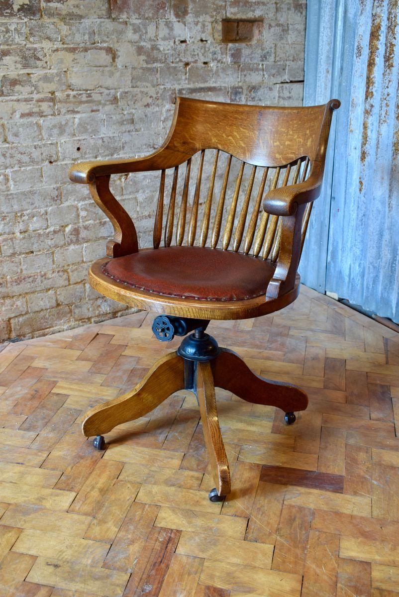 Chaise de bureau pivotante de capitaine antique en vente sur pamono - Chaise de bureau antique ...