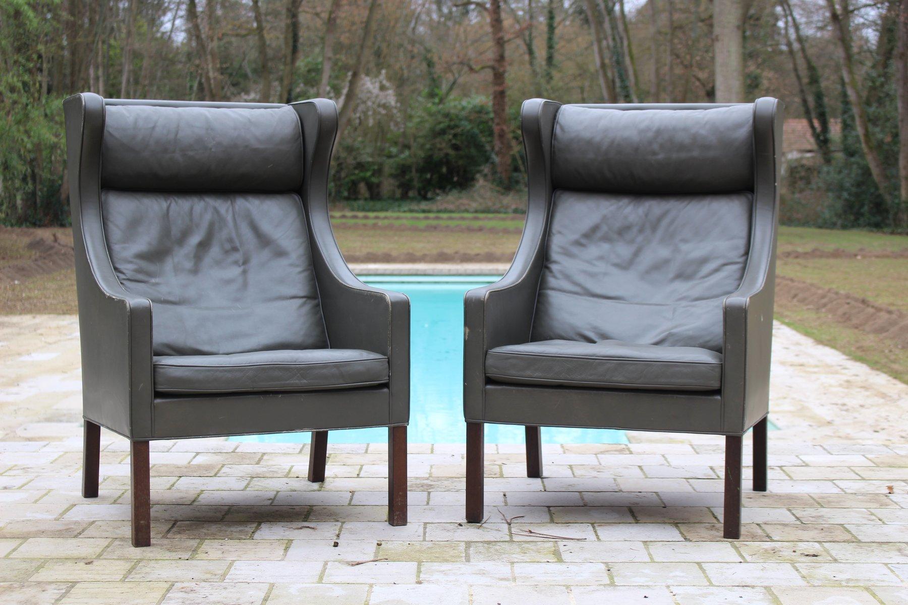2204 Wing Chairs aus Leder von Børge Mogensen für Fredericia, 1960er, ...