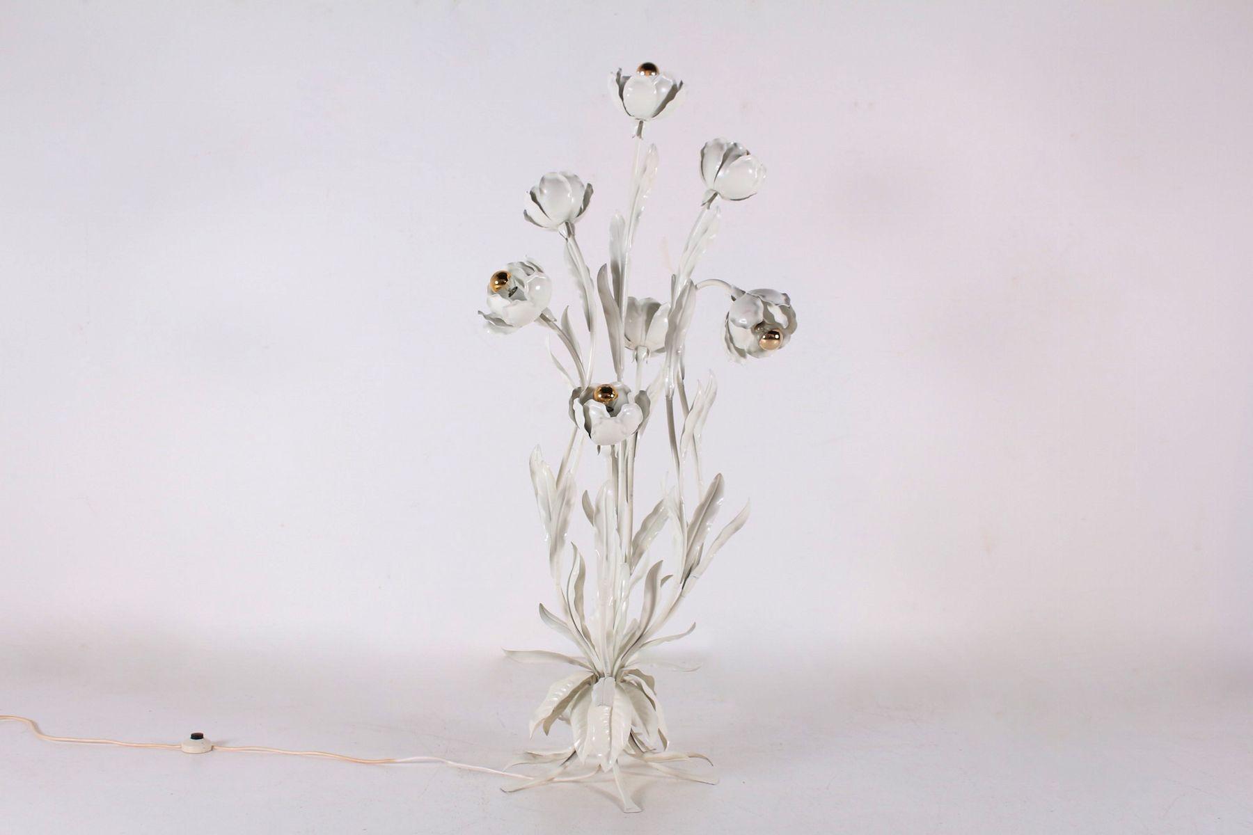 Vintage White 7-Light Floral Floor Lamp by Hans Kögl, 1970s