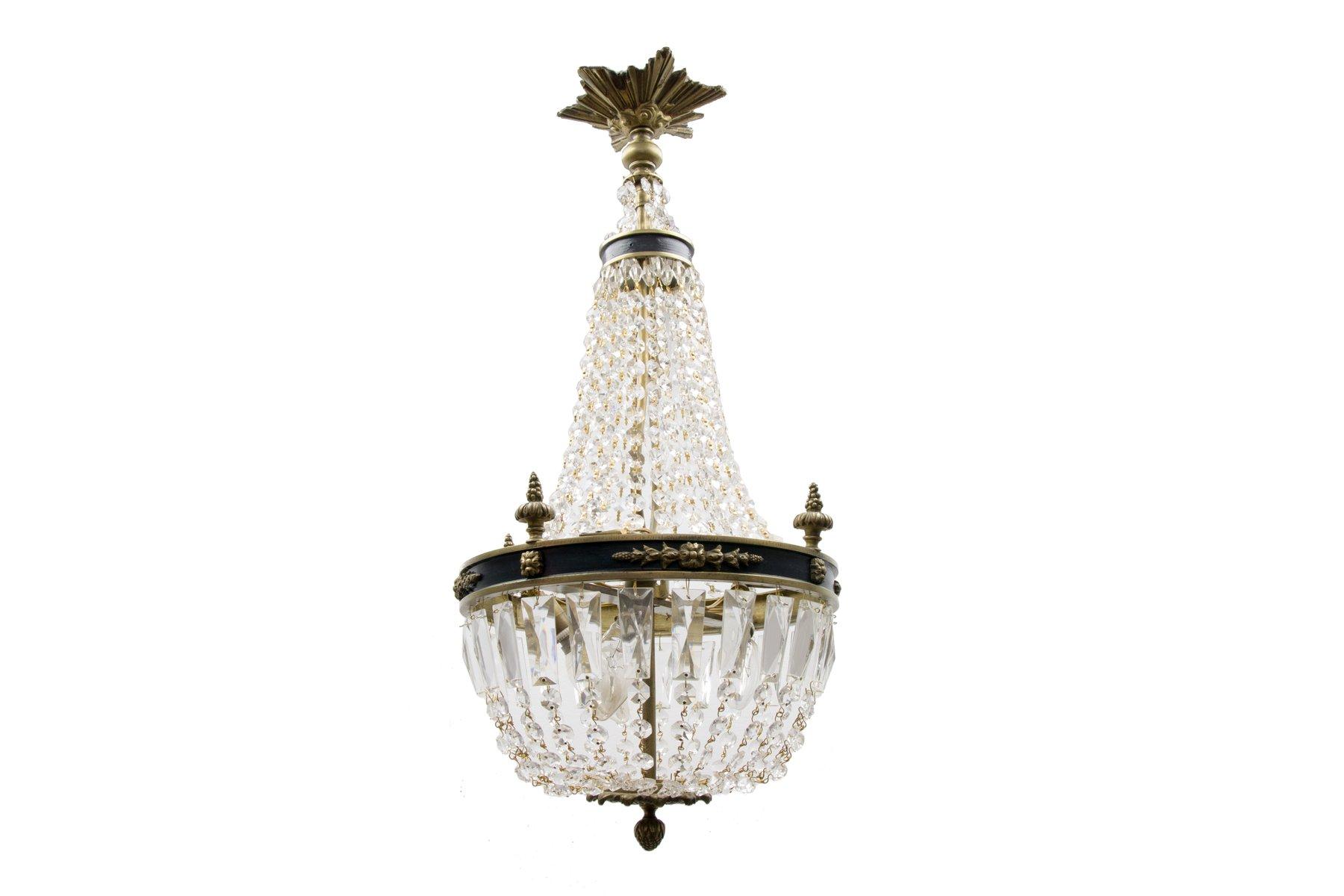 Vintage Empire Korb-Kronleuchter aus Bronze & Kristallglas