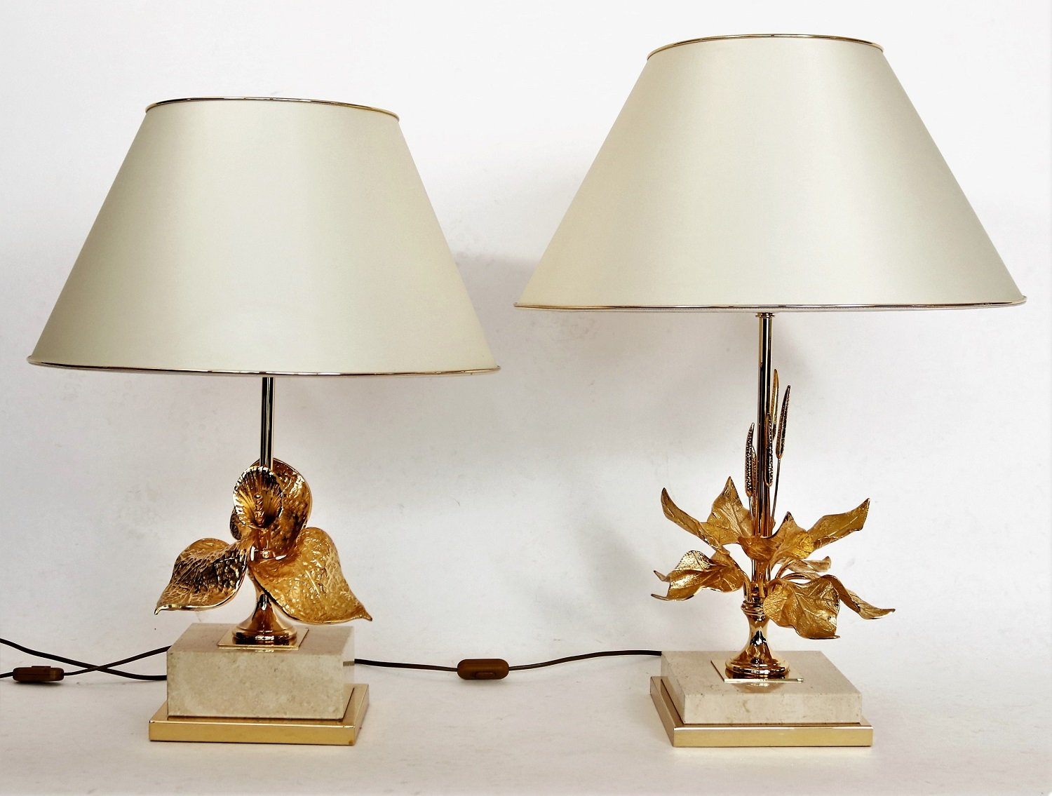 French Travertine Marble and Brass Table Lamps, 1970s, Set of 2