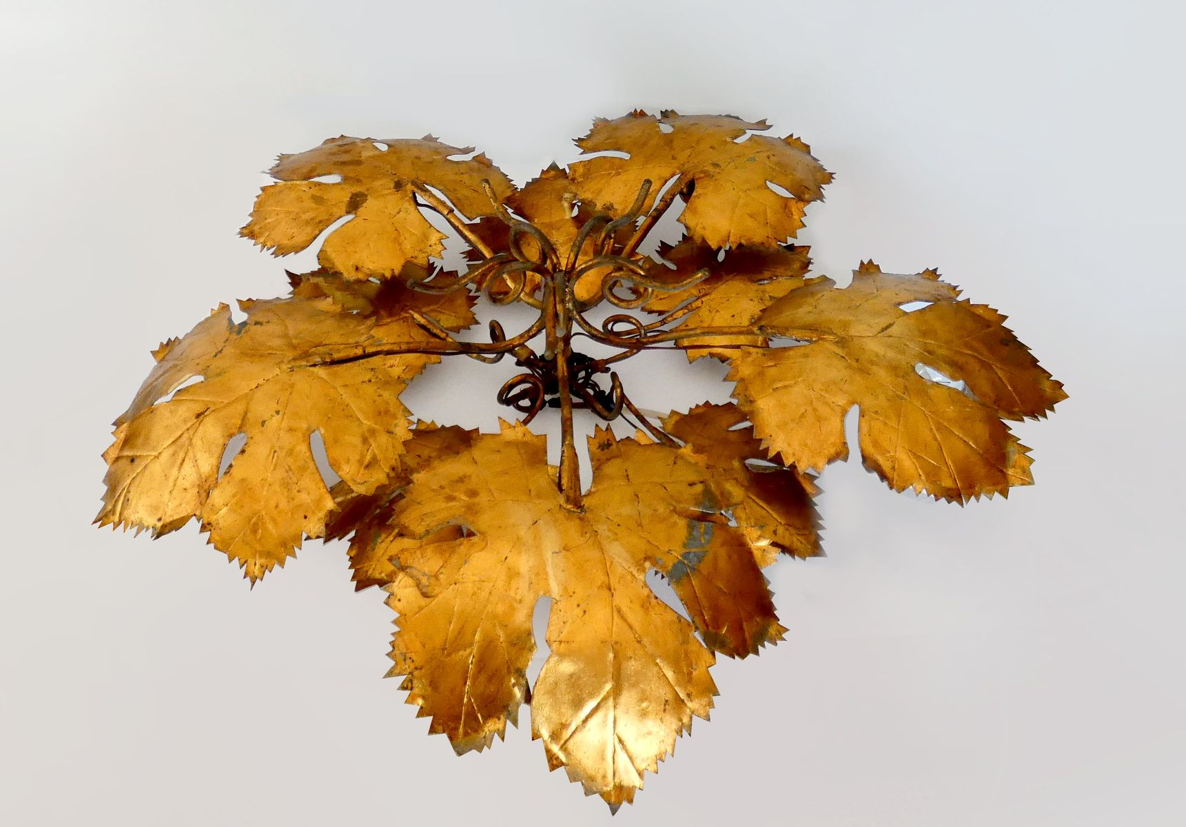 Large Golden Vine Leaves Ceiling or Wall Lamp, 1960s