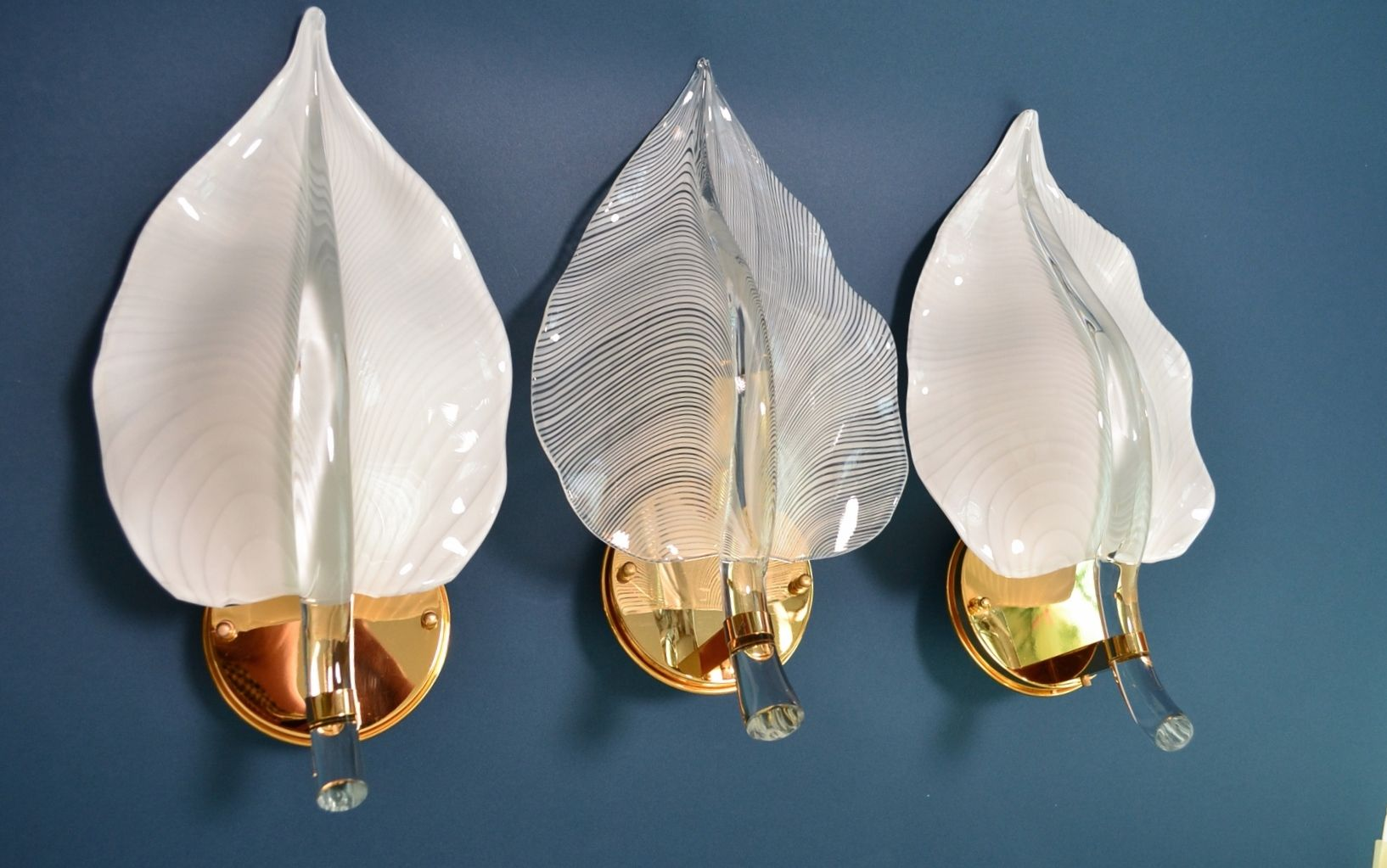 Italian Murano Glass & Brass Sconces, 1970s, Set of 3
