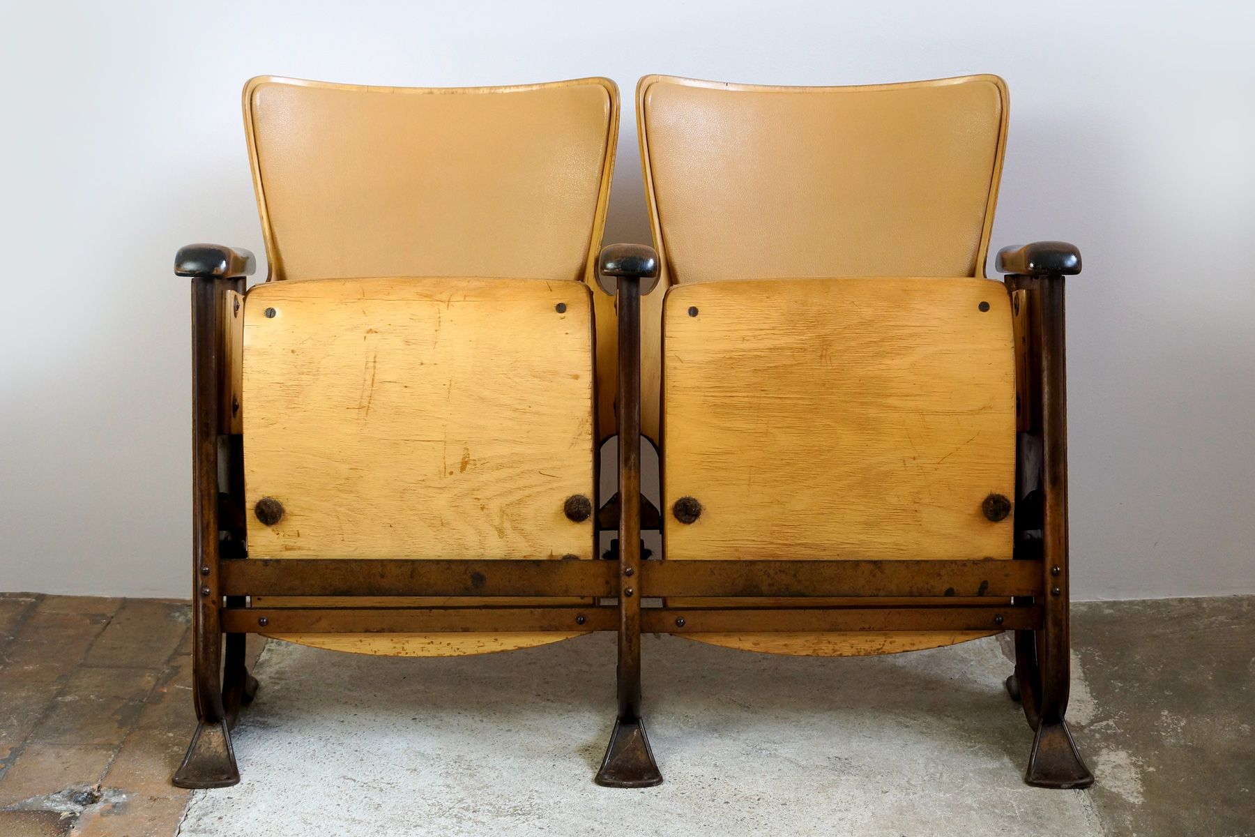 Art Deco Two-Seater Cinema Bench, 1920s