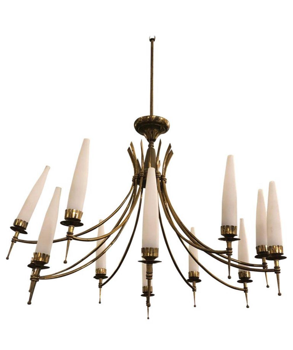 Mid-Century Modern Brass & Glass Twelve Light Italian Chandelier, 1950...