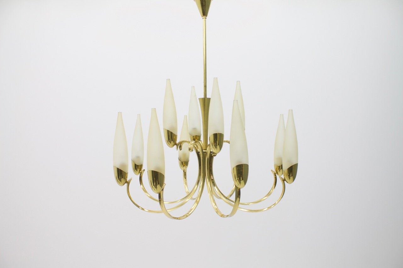 Large Mid-Century Glass & Brass Chandelier