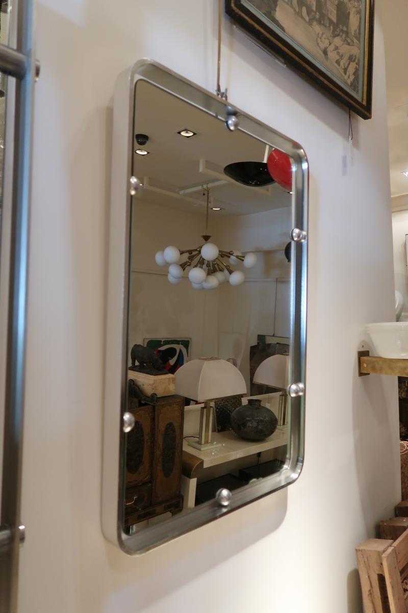 italienischer vintage wandspiegel mit rahmen aus aluminium. Black Bedroom Furniture Sets. Home Design Ideas