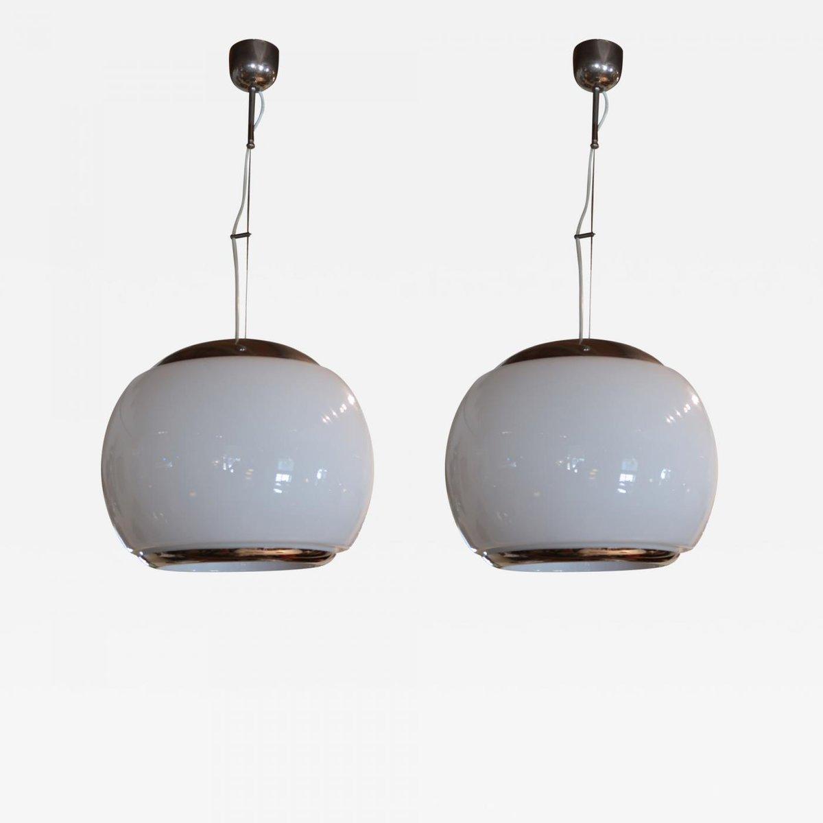 Italienische Vintage Deckenlampen aus Chrom & Opalglas, 2er Set