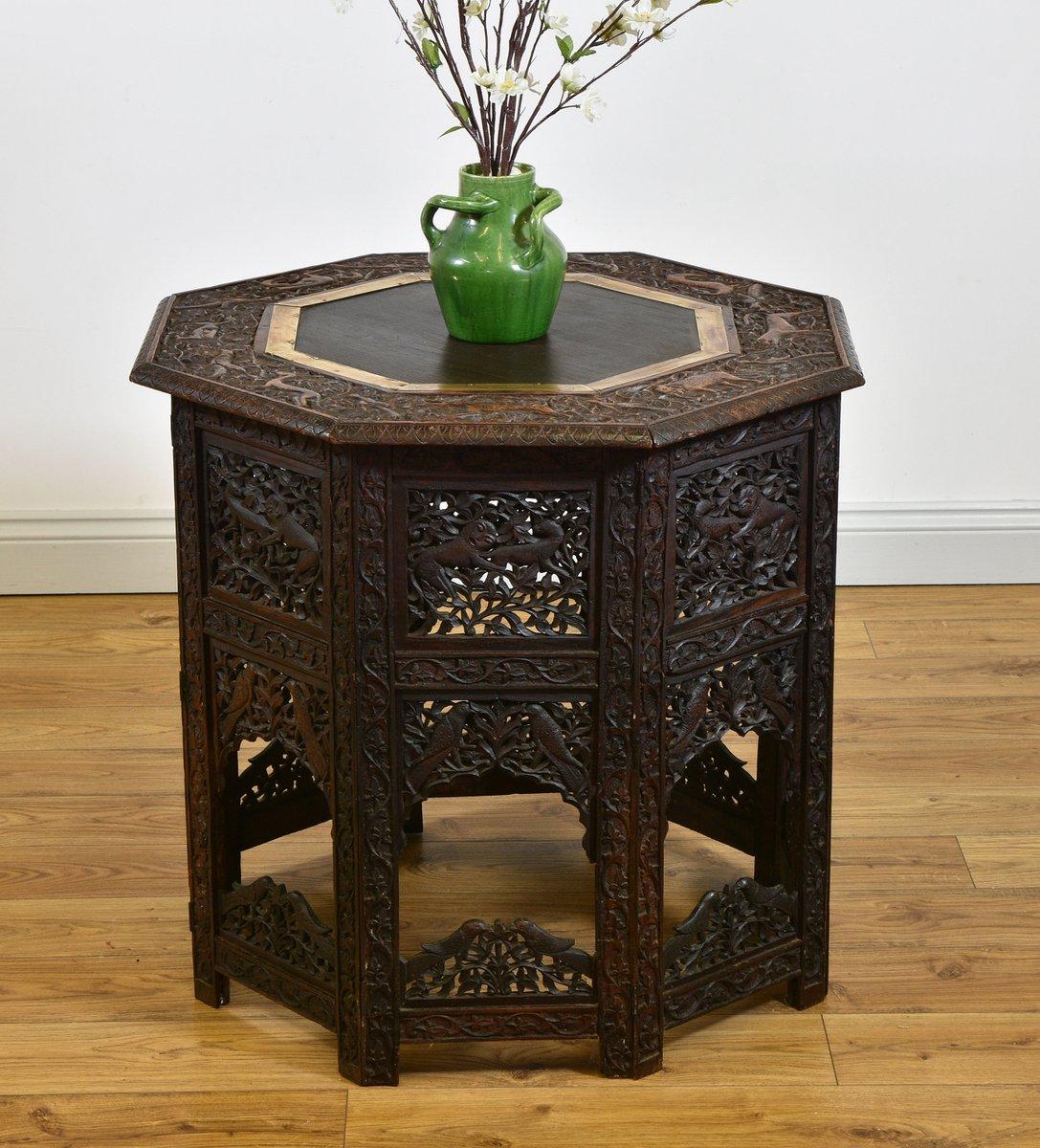 grande table d 39 appoint octogonale pliante anglo indienne. Black Bedroom Furniture Sets. Home Design Ideas