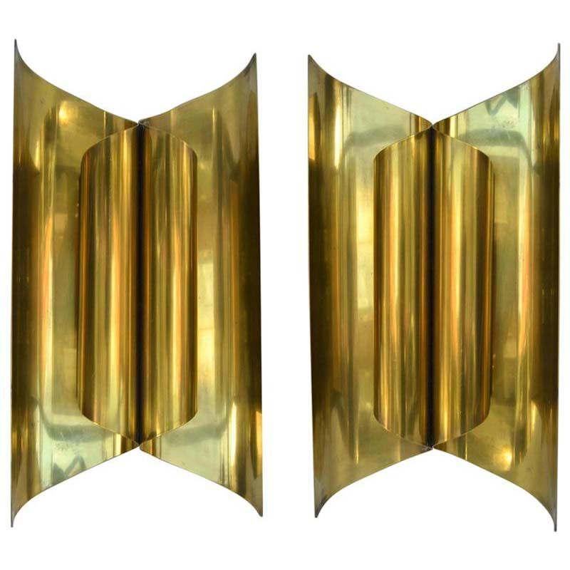 Large Sculptural Modernist Polished Brass Wall Sconces, 1950s, Set of ...