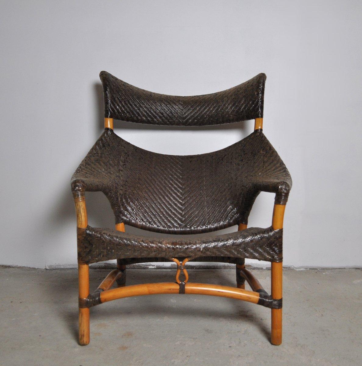Woven Rattan Chair Amp Stool By Yuzuru Yamakawa 1980s For