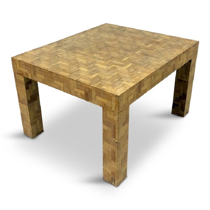 Long Bamboo Coffee Table: Italian Marquetry Bamboo Coffee Table, 1970s For Sale At