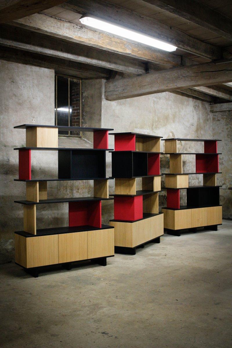 biblioth que double face en ch ne massif teint et laqu. Black Bedroom Furniture Sets. Home Design Ideas