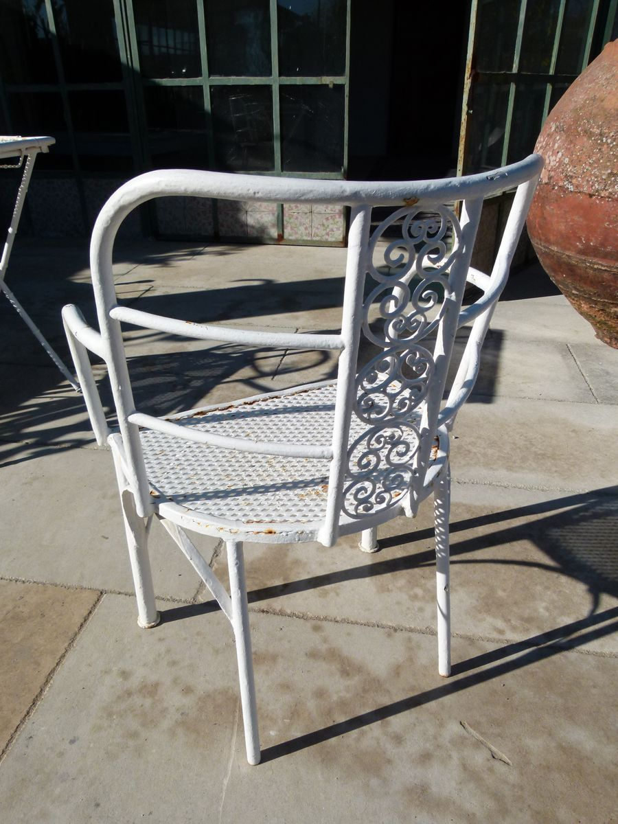 Mid Century Iron Patio Chairs: Mid-Century Spanish Cast Iron Table And Chairs, 1970s, Set