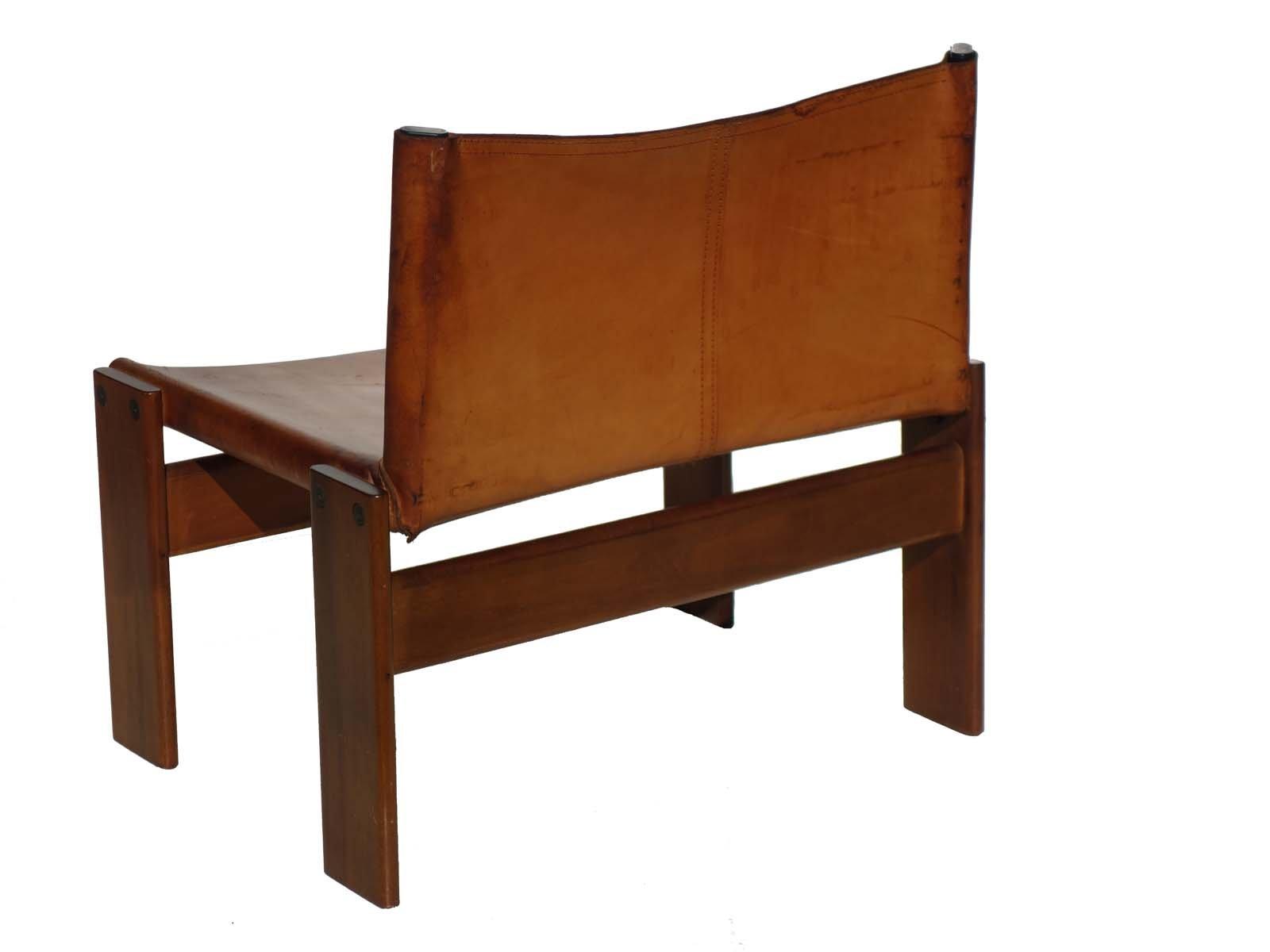 chaise d 39 appoint monk en cuir par tobia scarpa by molteni 1970s en vente sur pamono. Black Bedroom Furniture Sets. Home Design Ideas