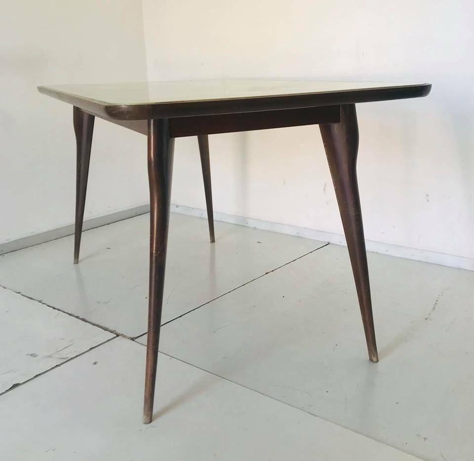Vintage tisch aus glas holz 1960er bei pamono kaufen for Tisch holz glas