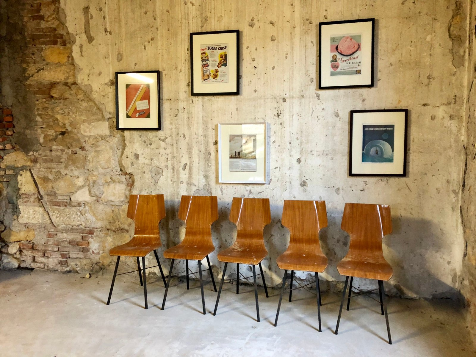 Chaises de salle manger contreplaqu en fer forg italie 1954 set de 5 en vente sur pamono for Salle a manger fer forge
