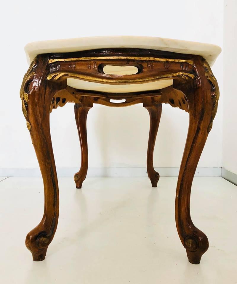 table basse vintage en bois en marbre 1950s en vente sur pamono. Black Bedroom Furniture Sets. Home Design Ideas