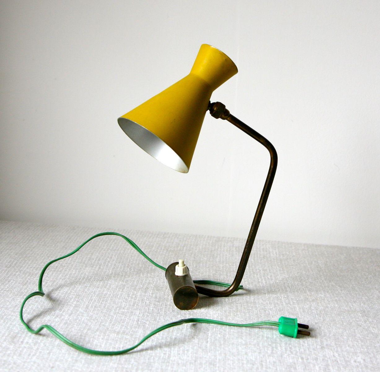 Tischlampe mit verstellbarem Diabolo-Schirm, 1950er