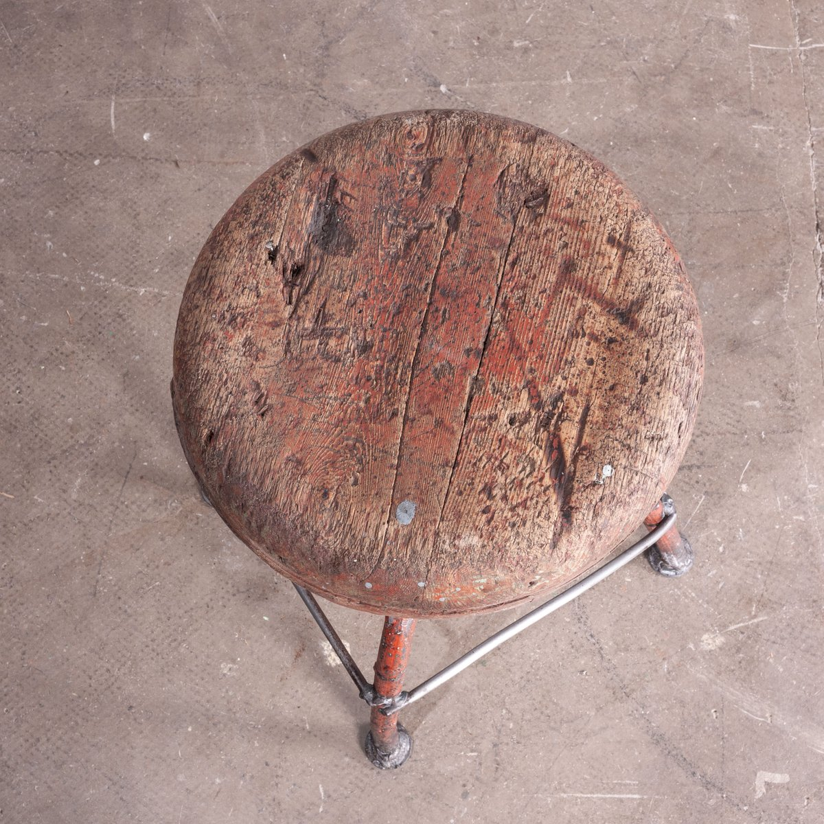 French Industrial Swivelling Welders Stool 1950s For Sale