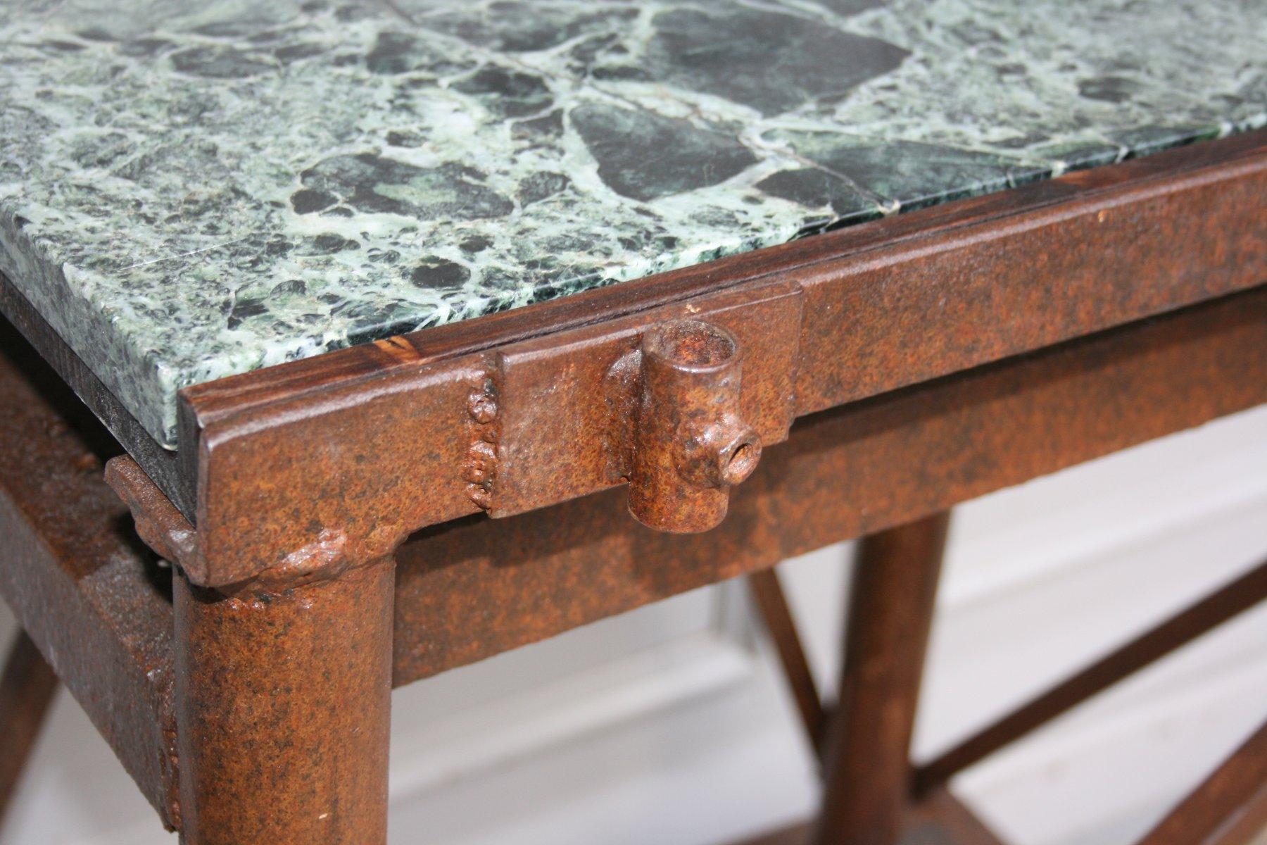 tabli industriel antique avec plateau en marbre en vente sur pamono. Black Bedroom Furniture Sets. Home Design Ideas
