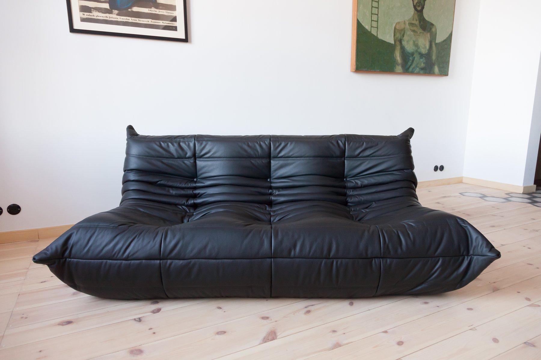 canap 3 places togo vintage en cuir noir par michel. Black Bedroom Furniture Sets. Home Design Ideas