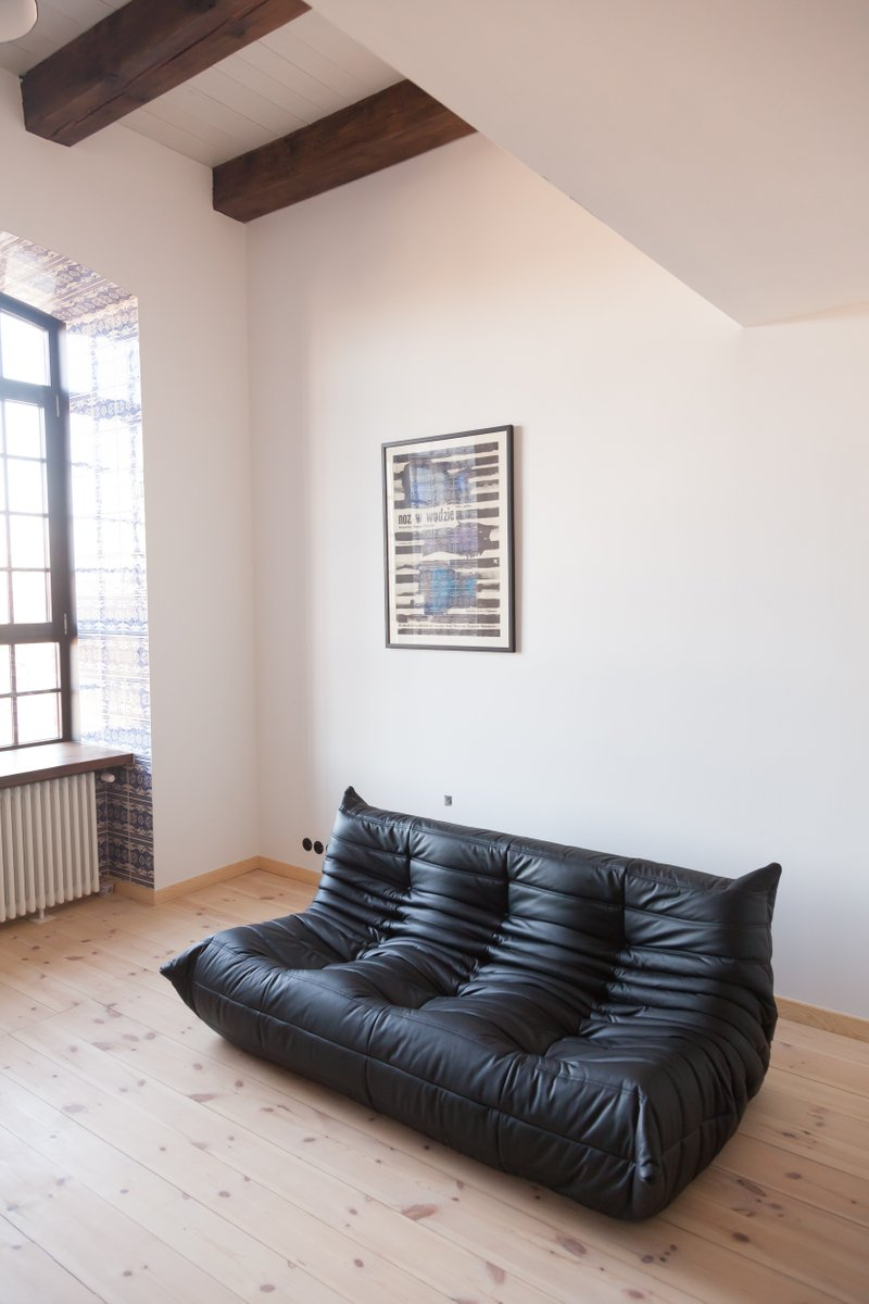 Vintage Black Leather 3 Seater Togo Sofa By Michel Ducaroy
