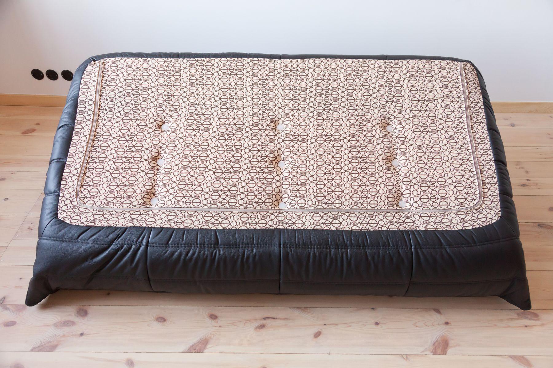 vintage black leather 3 seater togo sofa by michel ducaroy. Black Bedroom Furniture Sets. Home Design Ideas