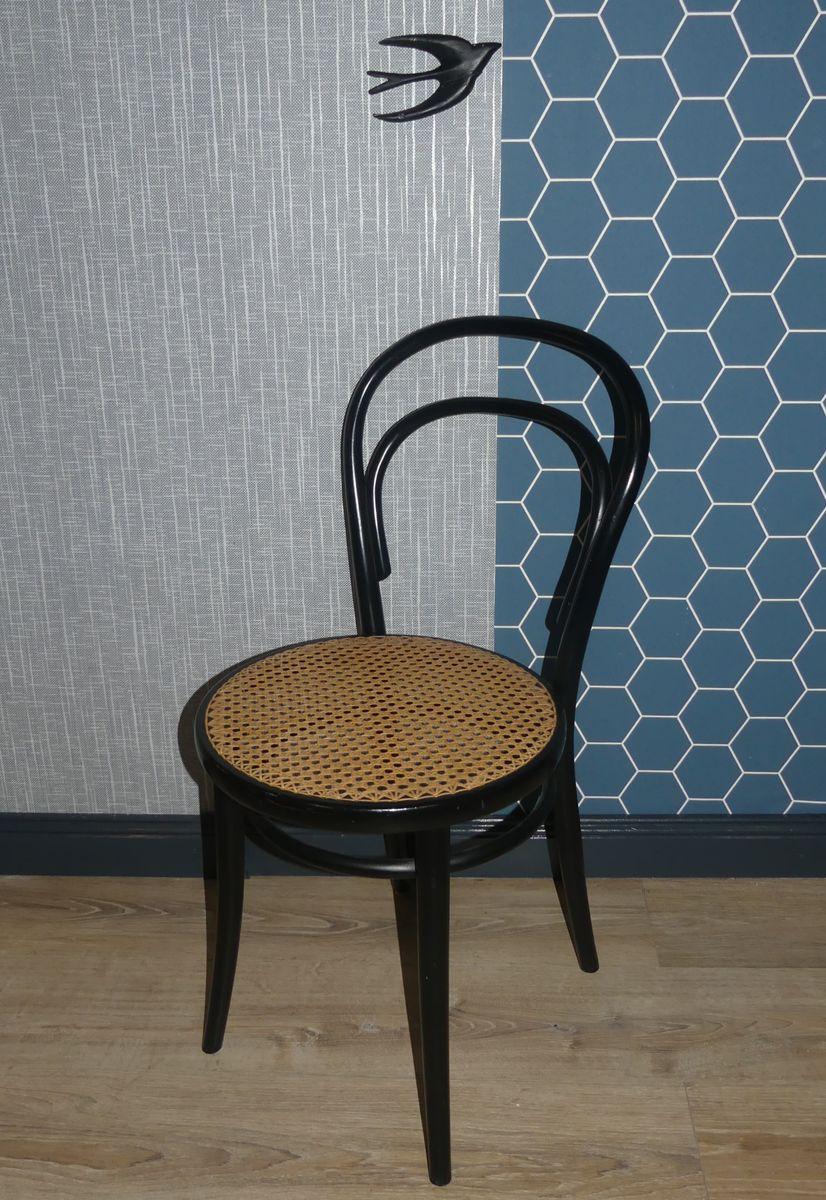 chaise noire viennoise vintage en osier 1960s en vente sur pamono. Black Bedroom Furniture Sets. Home Design Ideas