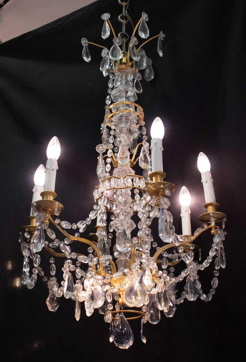 Antiker 9-Leuchten Kronleuchter aus vergoldeter Bronze & Kristallglas
