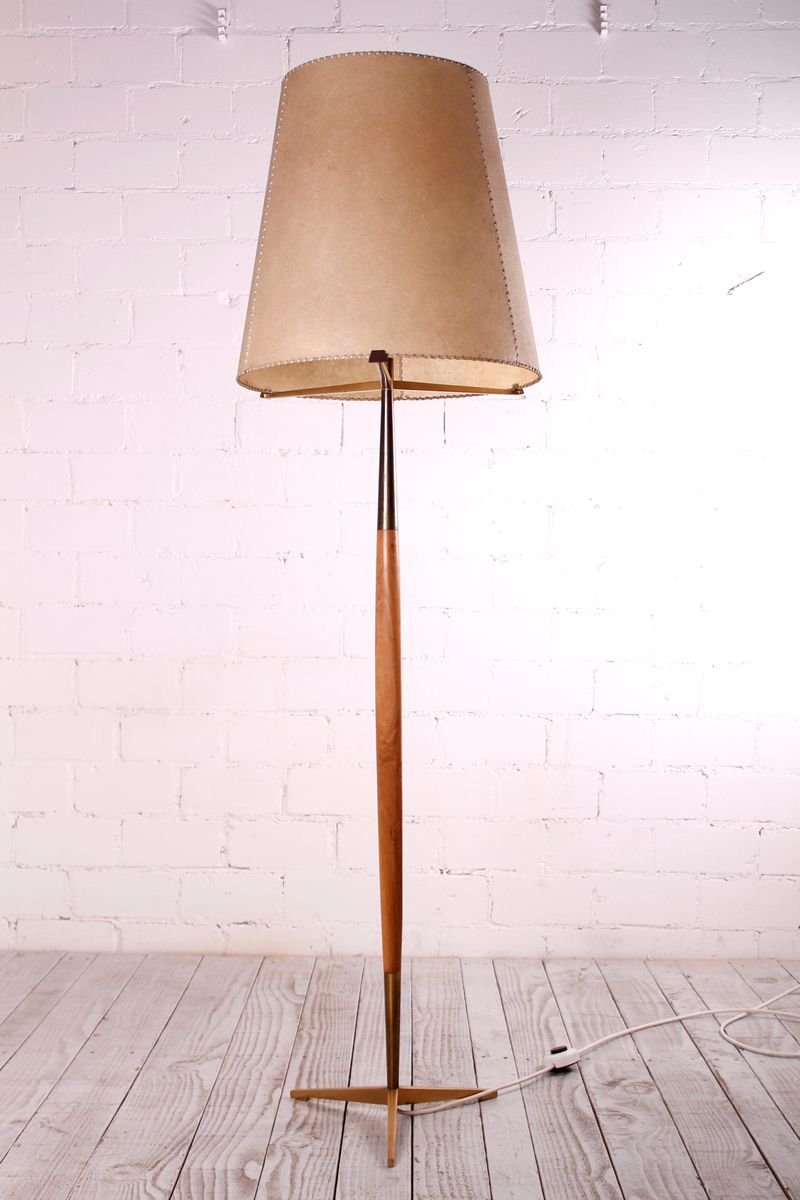 Stehlampe aus Messing, 1950er