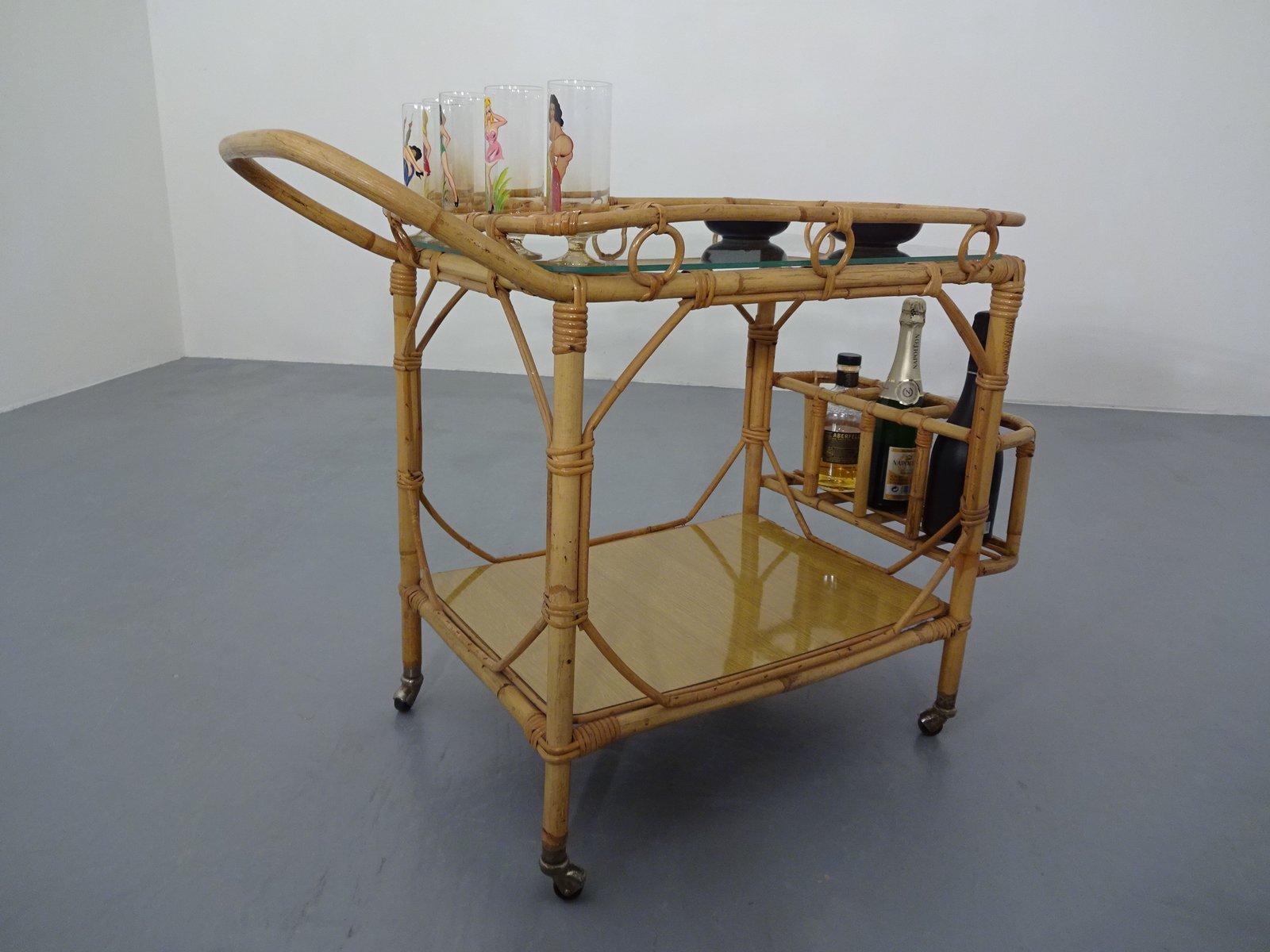 italienischer barwagen aus bambus rattan 1950er bei. Black Bedroom Furniture Sets. Home Design Ideas
