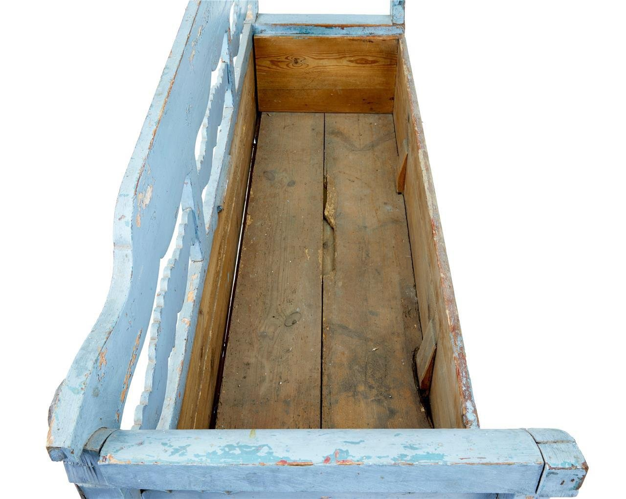 gro e antike bank aus kiefernholz mit stauraum bei pamono. Black Bedroom Furniture Sets. Home Design Ideas
