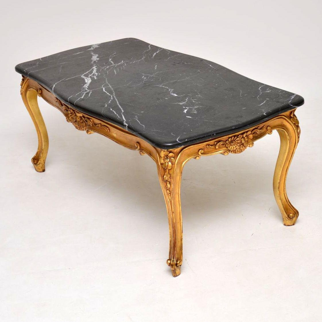 Antique French Marble Top Coffee Table: Vintage French Gilt Wood Marble Top Coffee Table En Vente