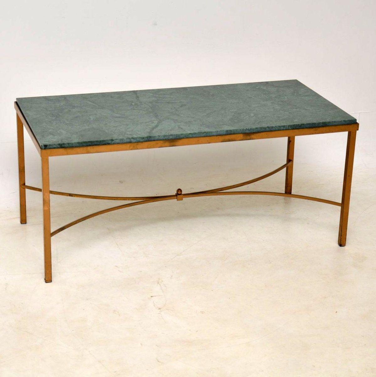 Vintage French Marble And Brass Coffee Table For Sale At