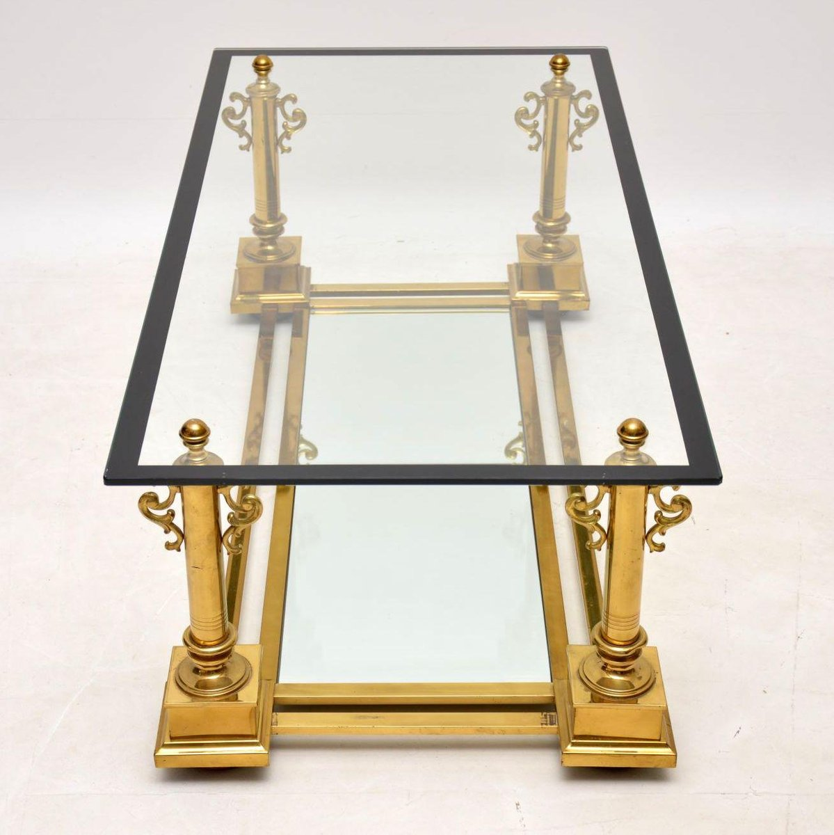 Vintage French Brass Coffee Table From Maison Charles